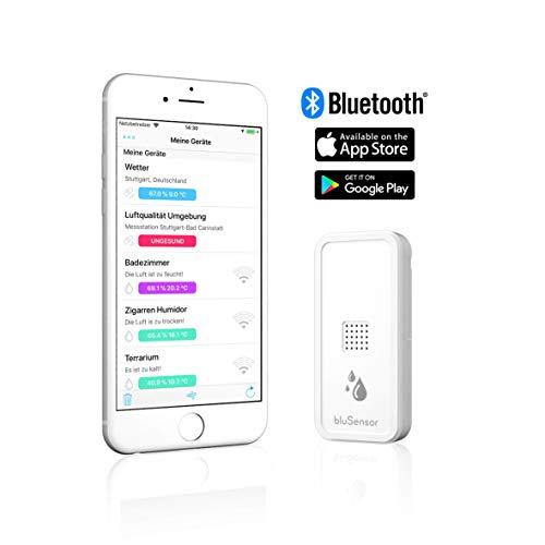 BluSensor® AIR - Bluetooth Hygrometer/Thermometer - Qualitätssensor und Datenlogger für Temperatur/Luftfeuchtigkeit – inkl. gratis App für Fernabfragen – Made IN Germany