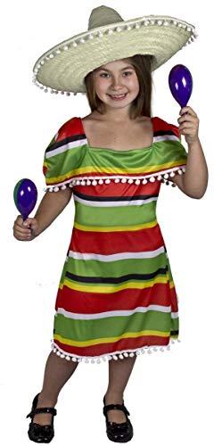 I LOVE FANCY DRESS LTD Déguisement de la Parfaite Petite Méxicaine avec Cette Jolie Robe pour Enfant. Ideal pour Les fêtes de Fin d'école. ( 7/9 Ans )
