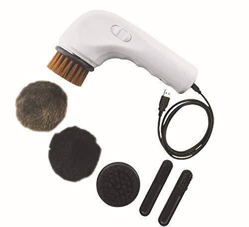 HW Elektrisch Schuhputzmaschine, Lederbürste Leder Schuhe Polieren Schuhpflege Bürste Reinigungsbürste Poliermaschine Mit Füße Schwielen Entferner Bürste