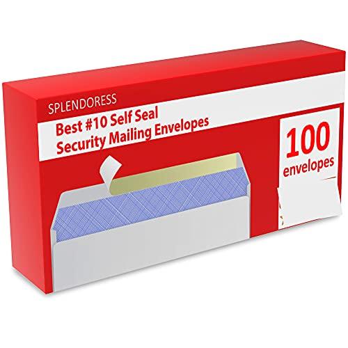Mailing Envelopes Self Seal - #10 Security White Letter Businesses Envelopes -100 Peel and Seal Tinted Windowless # 10 Envelope - Printer Friendly - Self Stick Bulk Envelops