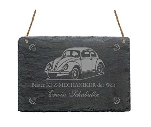 Schiefertafel « BESTER KFZ MECHANIKER DER WELT » Schild mit persönlichem Namen und Motiv Auto - Türschild - Mechatroniker Werkstatt