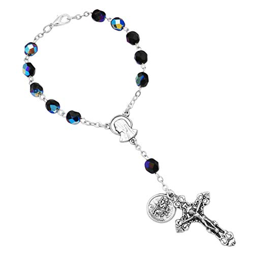 Rosemarie Collections Religious Gift One Decade Car Rosary with Saint Christopher Medal (Black Glass)