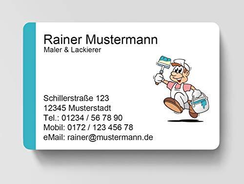 100 Visitenkarten, laminiert, 85 x 55 mm, inkl. Kartenspender - Maler Lackierer