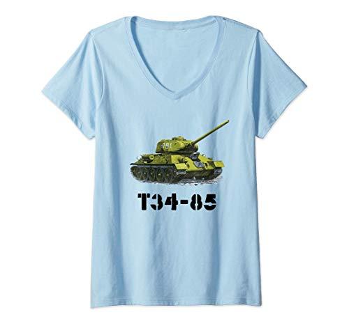 Mujer Tanque T34-85 - Segunda Guerra Mundial rusa soviética Camiseta Cuello V