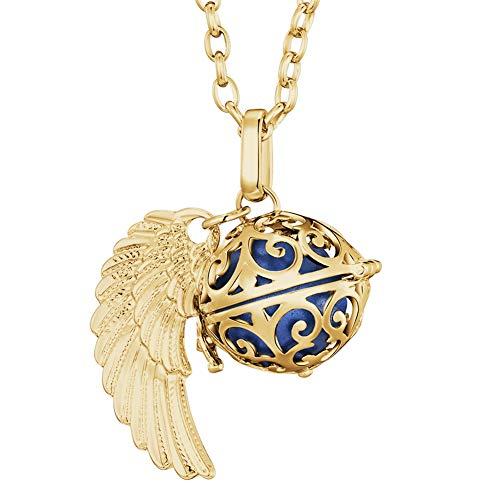 Morella Damen Halskette Gold Edelstahl 70 cm mit goldenem Anhänger Engelsflügel und Klangkugel blau Ø 16 mm in Schmuckbeutel