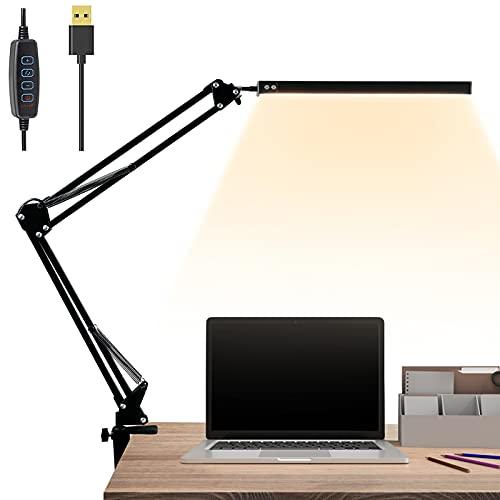 Lampada da Scrivania LED, Lampada da Scrivania con Morsetto Luce con Clip USB 3 Modalità Colore Braccio Oscillante Flessibile Ruotabile Lampada per Ufficio Accessori Lettura Studio PC