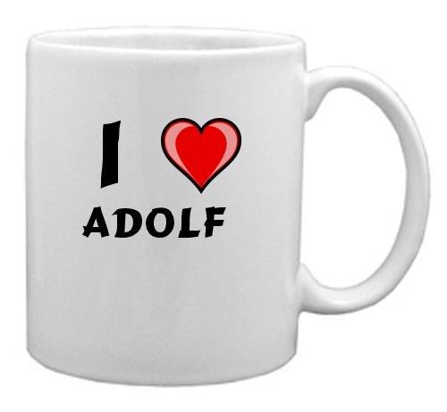 Keramische Tasse mit Aufschrift Ich liebe Adolf (Vorname/Zuname/Spitzname)