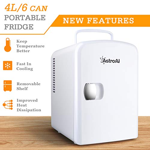 AstroAI Mini Fridge 4 Liter//6 Can Portable AC//DC Powered Thermoelectric System Cooler and Warmer for Cars Offices Homes and Dorms