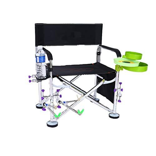 Loisirs Camping Confortable Accoudoir Chaise De Pêche en Plein Air Pêche Sauvage léger Chaise en Aluminium Portable (Color : Black1)