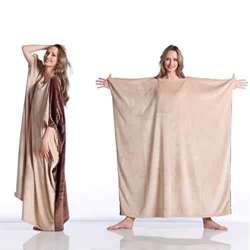 Coperta Kanguru Momonga Brownie, indossabile, copre fronte e retro e ti permette di camminare ed usare le braccia, dimensioni 120x120