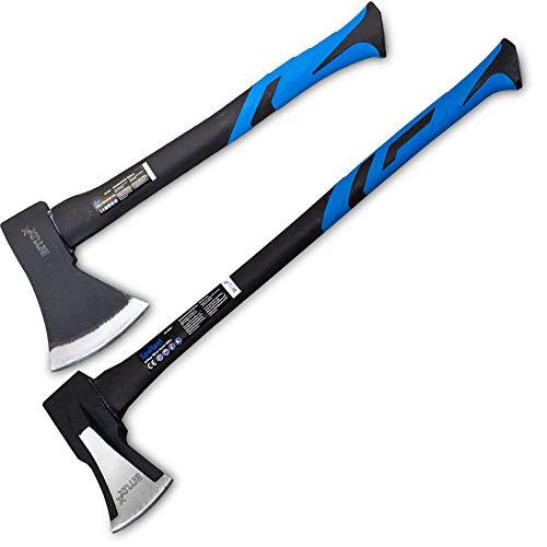 BITUXX Spaltaxt Spaltbeil Axt Beil Spalthammer Spaltkeil Fiberglas Forst Set - Die Perfekten Werkzeuge für Garten und Wald (Axt 1000g + Spaltaxt 2000g)