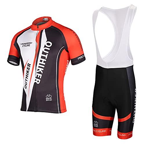 OUTHIKER Ciclismo Maillot Hombres Jersey + Pantalones Cortos Culote Mangas Cortas de Ciclismo Conjunto de Ropa Maillot Transpirable para Deportes al Aire Libre Ciclo Bicicleta