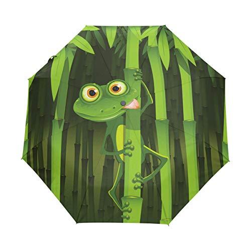 Bigjoke Regenschirm, 3-fach faltbar, automatischer Öffnung, niedlicher Frosch, Bambus, winddicht, für Reisen, leicht, kompakt für Jungen und Mädchen