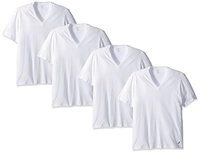 Nautica Men's Cotton V-Neck T-Shirt-Multi Packs, White - 4 Pack, L by Nautica