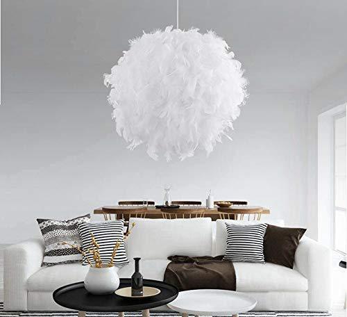 ACHICOO Lámpara de techo colgante LED romántica con forma de pluma blanca para dormitorio, salón, decoración de plumas blancas, diámetro interior de 20 cm, muelle sin doblar de 30 cm