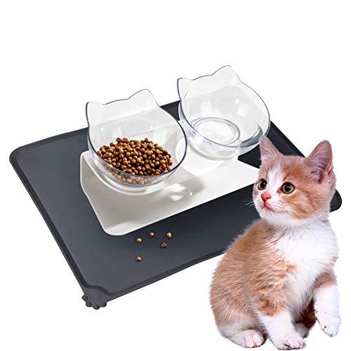 Katze Futternapf Set Doppelter mit Katzennapf Unterlage Silikon für Kaninchen Kleine Hunde Schützen die Wirbelsäule Design
