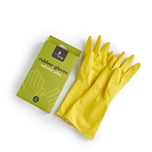 Eco Living Eco Plastic Free Natural Latex Rubber Gloves, 100% Plastic Free, Suitable for Vegans. (Yellow, Large)