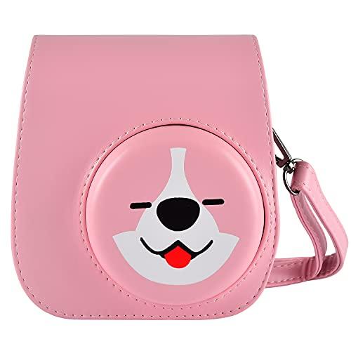 Schutzhülle und tragbare Tasche Kompatibel mit Fujifilm Instax Mini 11 / 9 / 8 Sofortbildkamera mit Zubehörtasche und verstellbarem Gurt. (Pink)