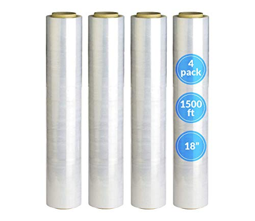 """Reli. 18"""" Stretch Wrap (4 Rolls, 1500 ft/roll) Clear Shrink Wrap/Stretch Plastic Wrap for Moving (Made in USA) - Plastic Pallet Wrap Stretch Film - Clear 18"""" Stretch Film for Moving and Storage"""