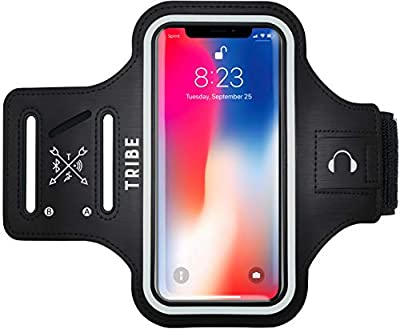 TRIBE Water Resistant Cell Phone Armband Case for iPhone 11, 11 Pro, 11 Pro Max, X, Xs, Xs Max, Xr, 8, 7, 6, Plus Sizes, Galaxy S10, S9, S8, S7, Plus Sizes and More. Adjustable Elastic Band & Key Slot