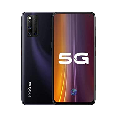 """Original IQOO 3 12G+256GB 5G Mobile Phone Snapdragon 865 AMOLED 6.44"""" Screen Android 10 180hz 4440mAh 55W Super Charger Global ROM UFS 3.1 48.0MP Cellphone by-(Real Star Technology) (Black 12+256)"""