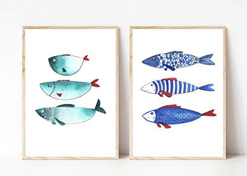 Din A4 Kunstdruck 2-teilig ungerahmt - Fisch Fische Trio Meerestier Maritim Aquarell, Naive Malerei, Türkis, Blau Deko, Badezimmer Geschenk Druck Poster Bild