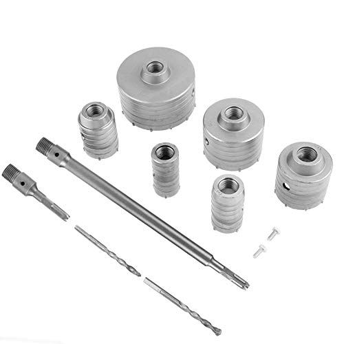 TCT Core Drill Bit Hole Cutter Set, 10Pcs 35-110m Core Drills Masonry Hole Cutter with 4-pits Round Arbors and Square Extension Shank, Wall Hole Saw Drill Bit for Drilling Concrete Cement Stone