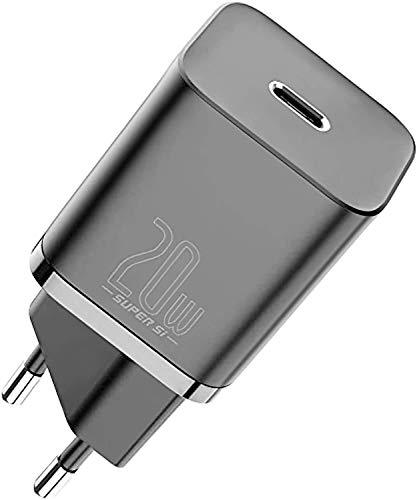 Baseus iPhone Cargador USB C 20W, Carga Rapida PD 3.0 Tipo C Cargador para iPhone 12 Pro / 12 Pro MAX / 12 Mini /12, iPhone 11 Pro MAX/SE, iPhone 8 Plus, iPad Pro, AirPods, Cargador Móvil para Samsung