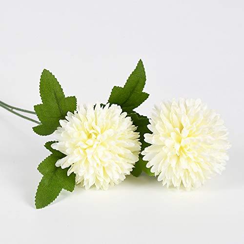 Bola De Simulación Crisantemo Arreglo De Boda 2 Cabeza Crisantemo Bola De Cebolla Individual Margarita Hortensia Flor Falsa Decoración De Fotografía De Boda En Casa (10 Piezas) Crisantemo doble blanco