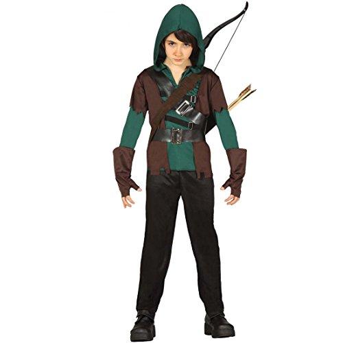 NET TOYS Vestito da Robin Hood Bambino Travestimento da Arciere Bimbo S 116/128 cm 5 - 6 Anni - Costume di Carnevale da brigante Abito delle Favole viandante della Foresta Completo