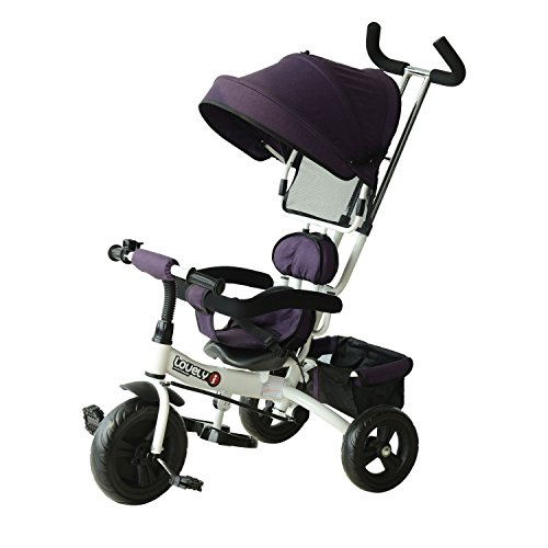 HOMCOM 3 in 1 Baby Tricycle Toddler Stroller Kids Pedal Tricycle w/ Pusher Removable Canopy Safety Belt Storage Footrest Brake for 18 Months to 5 Years Purple