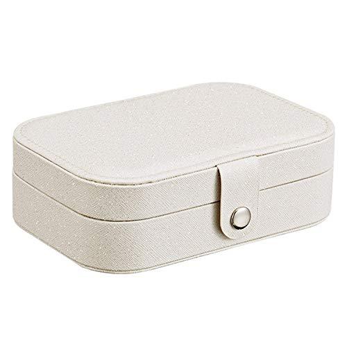 Caja de joyería portátil de viaje caja de joyería de cuero caja de almacenamiento de joyería multifunción pendiente collar placa joyería organizador cajas joyas para wom (color: A blanco)