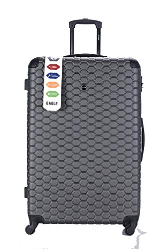 Hard Shell Case ABS Travel Luggage Suitcase 4 Wheel Spinner Trolley Baggage Bag Combination Lock 4 Corner Swivel Wheeled (32 Inch 88 x 57 x 31.5cm, 135L, 5.2 Kg, Grey)
