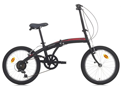 Cicli Cinzia Bicicletta 20' Citybike City Fold 6/V Revo Shift V-Brake all Nero Op./Rosso, Unisex – Adulto