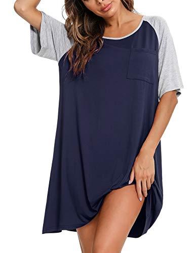Akalnny Damen Nachthemd Schlafshirt Baumwolle Sleepshirt Oversize Kurzarm Sommer Nachtwäsche Nachtkleid Kurz Rundhals Loose Fit Sleepwear Blau M