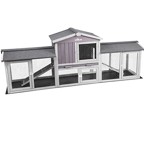 87.8''L Extra Large Chicken Coop, Rabbit Hutch Wooden Hen House Outdoor Bunny House - Upgrade with Bottom PVC Layer