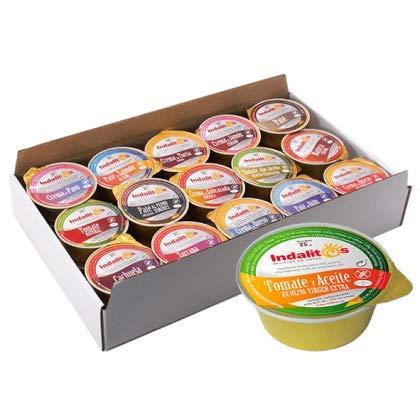 Indalitos - Tomate Natural con Aceite de Oliva Virgen Extra - Bandeja 30 Monodosis 25 g