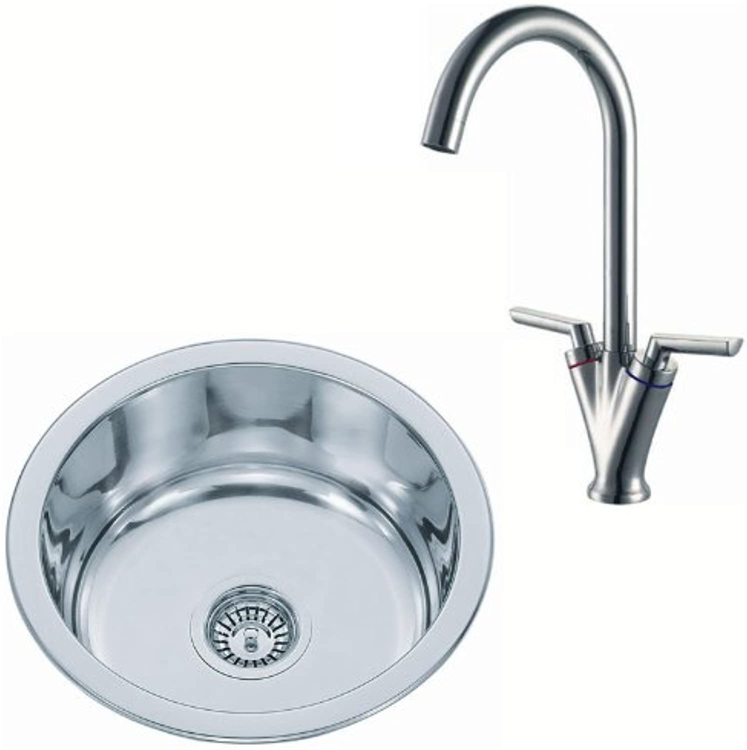Grand Taps Small Stainless Steel Kitchen Sink Bowl And Chrome Mixer Tap Set (pack KST101 mr)