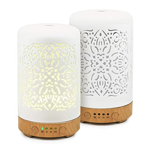 Earnest Living Essential Oil Diffuser White Ceramic Diffuser (Set of 2) 100 ml Timers Night Lights and Auto Off Function Home Office Humidifier Aromatherapy Diffusers for Essential Oils…