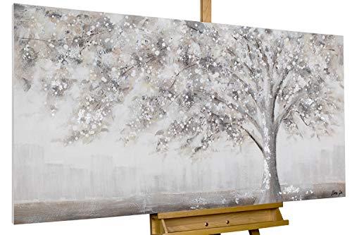 KunstLoft® Acryl-Gemälde 'Way Back Home' 140x70cm | original handgemalte Leinwand Bilder XXL | Abstrakt Baum Weiß | Wandbild Acrylbild Moderne Kunst einteilig mit Rahmen
