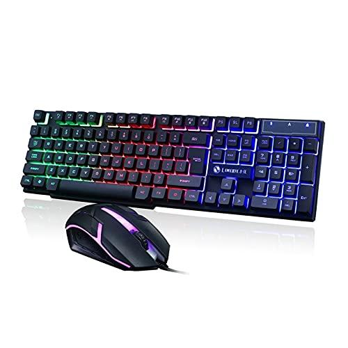 XUEXIU LED Incandescente del ordenador de sobremesa teclado mecánico Keyboard y ratón Game Suite Gaming USB Gaming Mouse de juego (Color : Black)