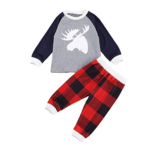 Toddler Infant Baby Girl Boy Christmas Clothes Long Sleeve T-Shirt Top Plaid Pants Striped Leggings 2Pcs Outfit Set (Plaid-Grey elk,2-3T)