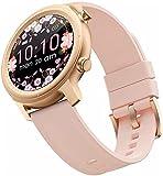 Smart Watch for Women, Bluetooth SmartWatch Haga o recibe Llamadas Fitness Tracker Watch con 1.28 '' Pantalla Impermeable de la Pantalla táctil Redonda de la caloría de calorías (Color : Rose Gold)