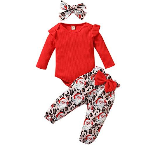 Baby Girl Christmas Outfit Ribbed Ruffle Romper+Santa Leopard Pant+Heandband Set Red
