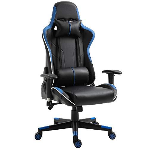 Vinsetto Poltrona Gaming con Altezza Schienale Regolabile, Sedia Ufficio con Poggiatesta e Cuscino Lombare Nera e Blu