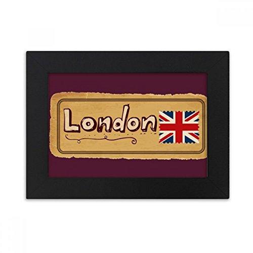 DIYthinker Union Jack Reino Unido Londres Sello del Marco Bretaña Escritorio Foto Negro Bellas Artes Pintura 5X7 Pulgadas