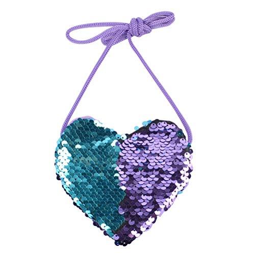 Fenical Borsa a tracolla con paillettes a forma di cuore Borsa carina a tracolla per bambini (blu viola)