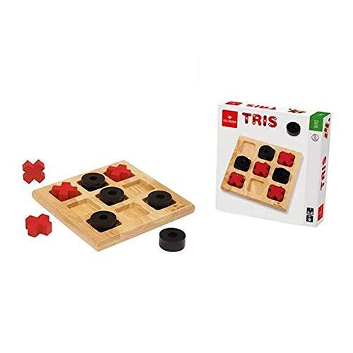 Dal Negro- Tris Gioco, Colore Legno, Nero e Rosso, 054239
