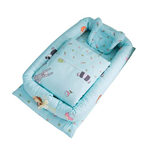 DorkasDE Babynest Kuschelnest Faltbett tragbar Babybett Reisebett mit Steppdecke