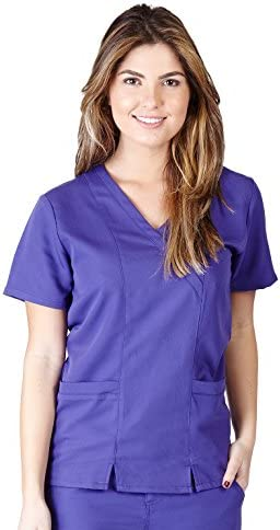 Ultra Soft Scrubs Womens Junior Fit Two Pocket Cross Over Tunic Scrub Top Purple 38797 Medium product image